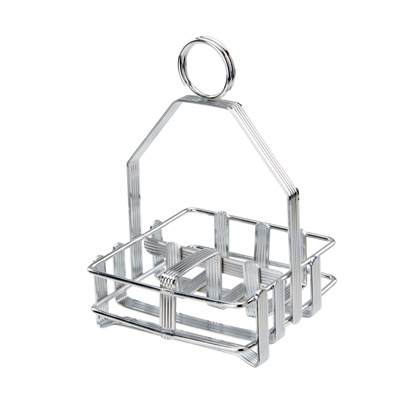 Winco WH-7 Salt & Pepper Shaker/ Sugar Packet Caddy Rack, fits G-109, chrome-plated wire
