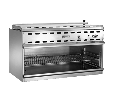 "Wolf WICM48 Cheesemelter, 48"", 40,000 BTU infrared (2) burners, 3-position heavy duty rack, removable pan, stainless steel interior"