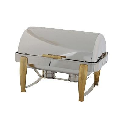 Winco 101A Virtuoso 8 Qt Full-Size Chafer, Roll-Top, Extra Heavyweight, Gold
