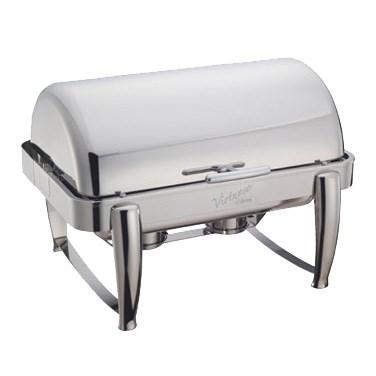 Winco 101B Virtuoso 8 Qt Full-Size Chafer, Roll-Top, Extra Heavyweight, Stainless Steel