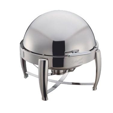 Winco 103B Virtuoso 6 Qt Round Chafer, Roll-Top, Extra Heavyweight, Stainless Steel