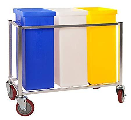 "Winholt 148PIB Ingredient Bin, Triple assembly, 3 clear covers, polyethylene, capacity 225 lbs., aluminum frame with large 5"" casters"
