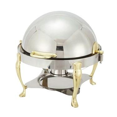 Winco 308A Vintage 6 Qt Round Chafer, Stainless Steel, Gold Accent, Extra Heavyweight