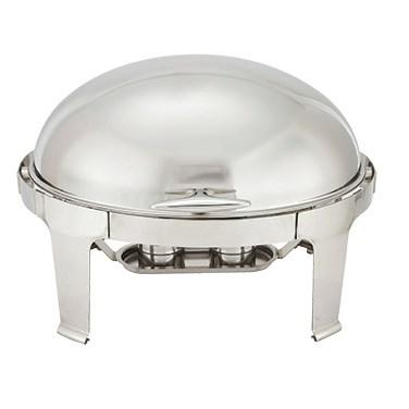 Winco 603 Madison 8 Qt Oval Chafer (Roll-Top), Stainless Steel
