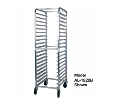 "Winholt AL-1815B Pan Rack, mobile, full height, open sides, with slides, welded angle-type aluminum frame, end loading, 5"" casters, NSF"