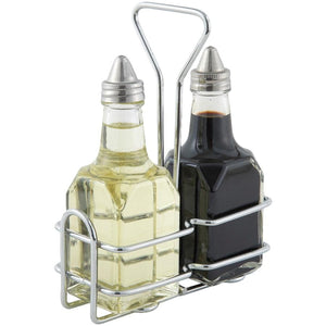 Winco G-104S Two 6 Oz Square Bottle Set With Lids & Chrome-Plated Rack