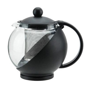 Winco GTP-25 25 Oz Glass Teapot With Infuser Basket, Black