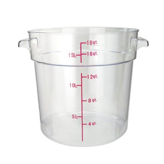 Winco PCRC-18 Round Storage Container, Clear Polycarbonate, 18 Qt