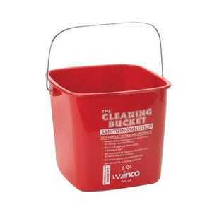 Winco PPL-6R Cleaning Bucket, Red Sanitizing, 6 Qt