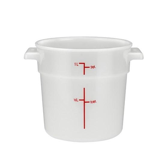 Winco PPRC-1W Round Storage Container, White, Polypropylene, 1 Qt