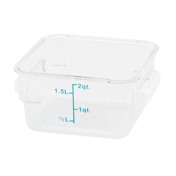 Winco PTSC-2 Square Storage Container, Translucent, Polypropylene, 2 Qt