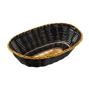 Winco PWBK-9V Oval Woven Basket, Black With Gold Trim
