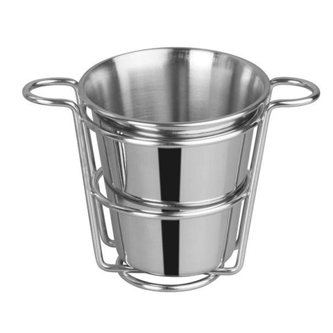"Winco SFCW-4S Stainless Steel Fry Cup With Wire Holder, 4"" Dia"