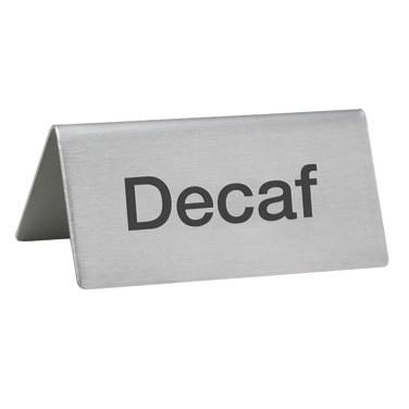 Winco SGN-102 Tent Sign, Stainless Steel, Decaf