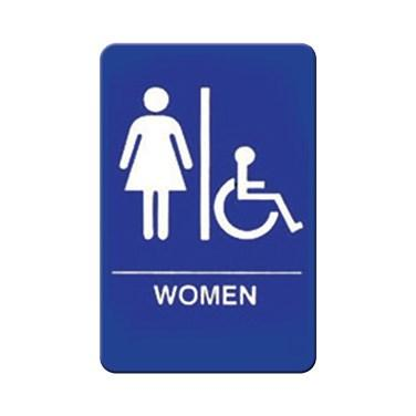 "Winco SGN-651B Information Sign, 6""W X 9""H, WOMEN/Accessible"