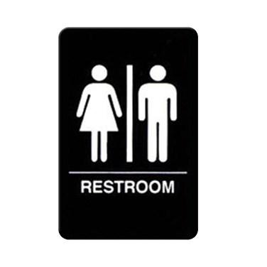 "Winco SGNB-603 Information Signs With Braille, 6""W X 9""H, RESTROOM"