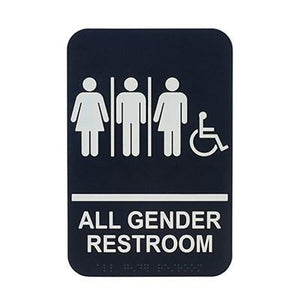 "Winco SGNB-608 Information Signs With Braille, 6""W X 9""H, All GENDER/Accessible"