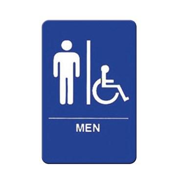 "Winco SGNB-652B Information Signs With Braille, 6""W X 9""H, MEN/Accessible"