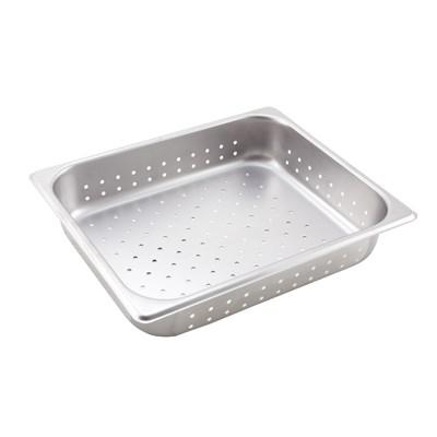 "Winco SPJH-202PF Half Size Stainless Steel Perforated Steam Pan 2-1/2"" Deep"