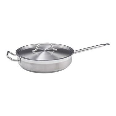 Winco SSET-7 Stainless Steel Saute Pan with Cover 7 Qt