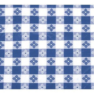 "Winco TBCO-70B Table Cloth, 52""L X 70""W, Rectangular, Blue Checkerboard"