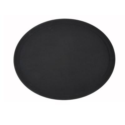 Winco TRH-2722K Easy-Hold Rubber-Lined Tray, 22 X 27 , Oval, Black