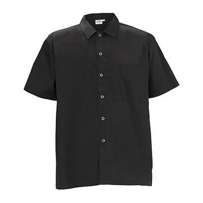 Winco UNF-1K3XL Short-Sleeved Chef Shirt (3XL), Black Poly-Cotton Blend