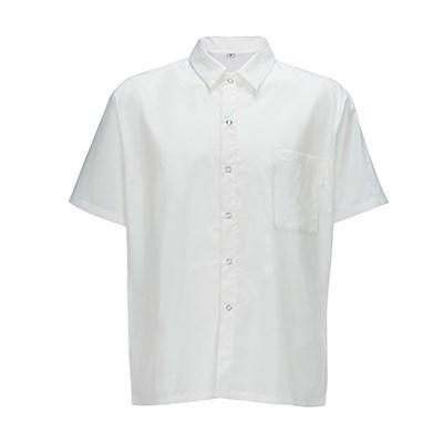 Winco UNF-1W3XL Chef Shirt (3XL), Short-Sleeved White Poly-Cotton Blend