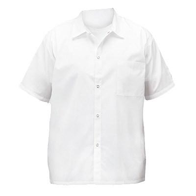 Winco UNF-1WM Medium Short-Sleeved Chef Shirt, White Poly-Cotton Blend