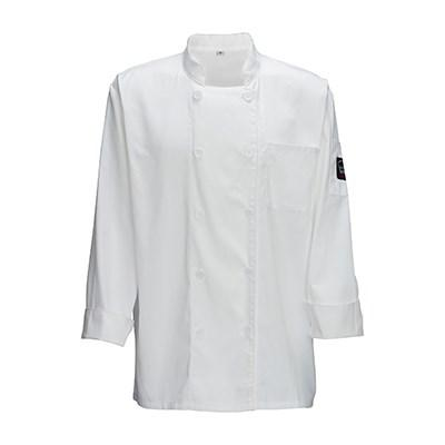 Winco UNF-5W3XL 3X-Large White Poly-Cotton Blend Double Breasted Chef Jacket With Pocket