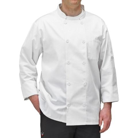 Winco UNF-5WL Large White Poly-Cotton Blend Double Breasted Chef Jacket With Pocket
