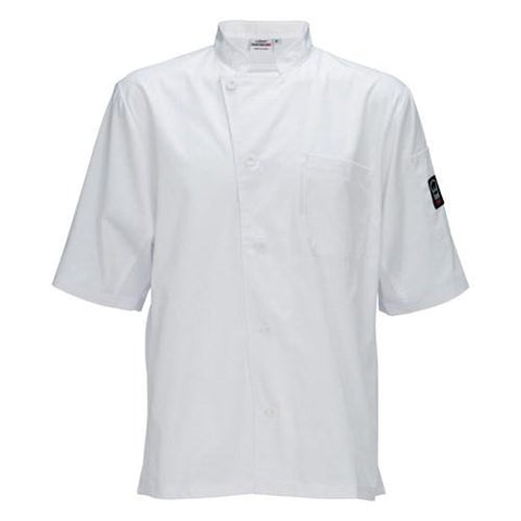 Winco UNF-9WS Universal Ventilated Shirt, Universal Fit, 65/35 Poly-Cotton Blend, White, Small
