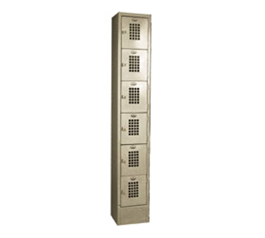 "Winholt WL-66 Lockers, 6-tier, floor mounted, 12""W x 12""D x 78""H, beige finish, fully assembled"