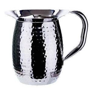 Winco WPB-2CH Hammered Bell Pitcher With Ice Guard, Stainless Steel, 2 Qt