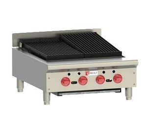 "Wolf ACB25 ACB Series 25-1/8"" Gas Countertop Achiever Charbroiler with Cast Iron Radiants, 4 Burners"