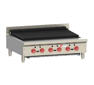 "Wolf ACB36 ACB Series 36"" Gas Countertop Achiever Charbroiler with Cast Iron Radiants, 6 Burners"