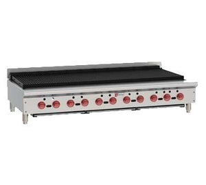 "Wolf ACB60 ACB Series 62"" Gas Countertop Achiever Charbroiler with Cast Iron Radiants, 11 Burners"