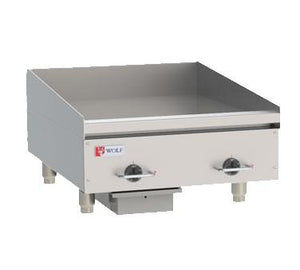 "Wolf WEG24E 24"" Electric Stainless Steel Countertop Griddle with Snap Action Thermostatic Controls"