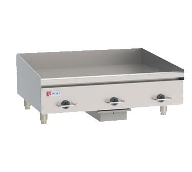"Wolf WEG36E 36"" Electric Stainless Steel Countertop Griddle with Snap Action Thermostatic Controls"