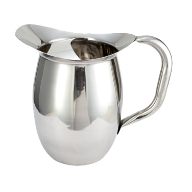 Winco WPB-2C Bell Pitcher, 2 quart, with ice catcher, heavy weight stainless steel, mirror finish