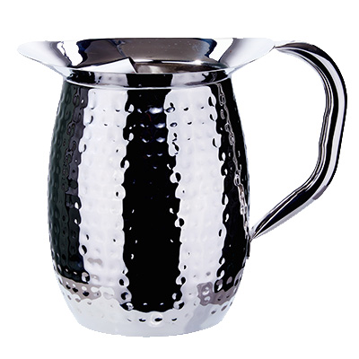 Winco WPB-3CH Bell Pitcher, 3 quart, with ice guard, hammered, heavy weight stainless steel, mirror finish