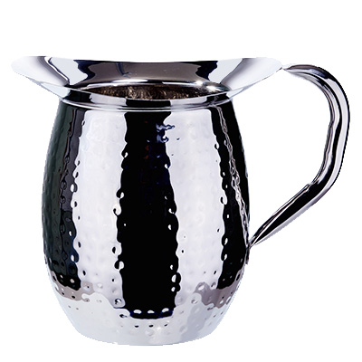 Winco WPB-3H Bell Pitcher, 3 quart, hammered, heavy weight stainless steel, mirror finish