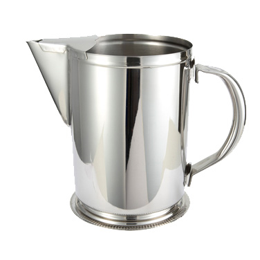 Winco WPG-64 Water Pitcher, 64 oz., with ice guard, stainless steel, mirror finish