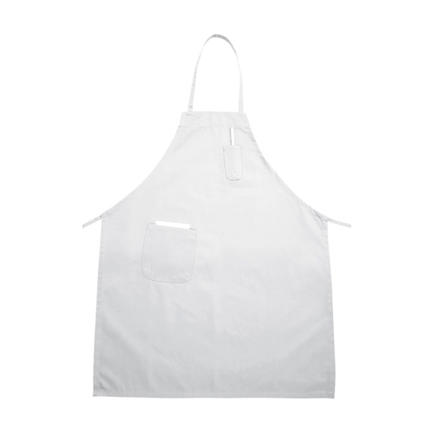 "Winco BA-PWH Bib Apron, 31"" x 26"", full-length, with (2) pockets, white"