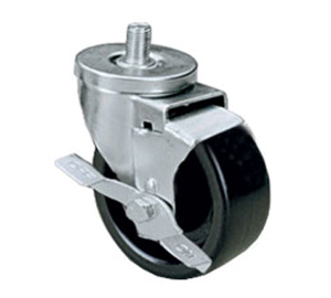 "Component Hardware CMT1-3BBN, Medium Duty 1/2-13 x 1-1/2"" Threaded Stem Caster With 3"" Black Polyolefin Wheel With Brake"