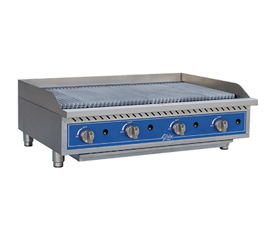 "Globe GCB48G-CR Gas Charbroiler, radiant, countertop, 48"" wide"