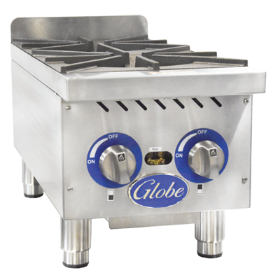 Globe GHP12G Hot Plate, gas, countertop, (2 Burner), 44,000 BTU