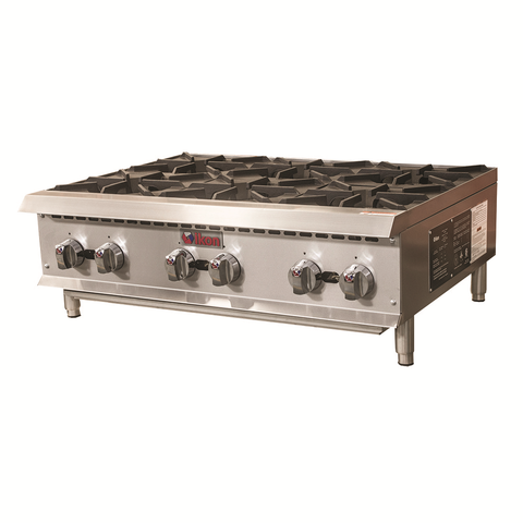 Ikon IHP-6-36 Hotplate, Natural Gas, (6) 25,000 BTU Octagonal Burners