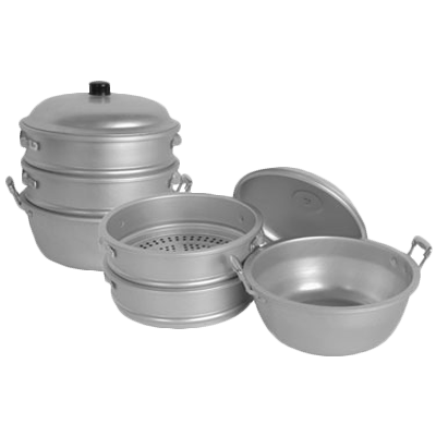 "Thunder Group ALST004 Aluminum Steamer Set 11.5""Dia. x 14.5""H"