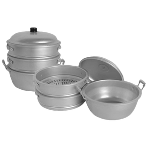 "Thunder Group ALST010 Aluminum Steamer Set 17"" D x 21.5""H"